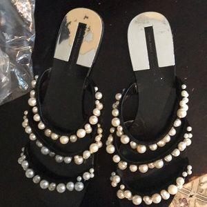 Zara pearl slip on sandals
